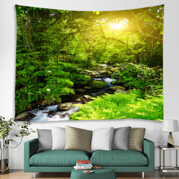 Forest Tapestry Wall Hanging Trees Green Creek River Nature Sunlight Wall Tapestry for Livingroom Bedroom Dorm Home Decor
