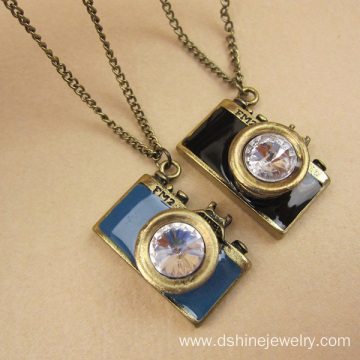 China Factory for Crystal Pendant Rhinestone Camera Pendant Necklace Cheap Fashion Jewelry export to Kuwait Factory