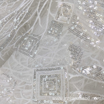 White Crystal Sequin Tulle Embroidery Fabric
