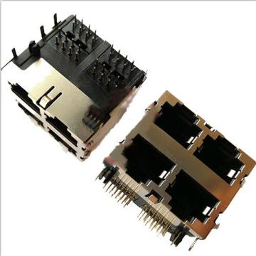 RJ45 Jack Side Entry Shielded 2x2P without EMI