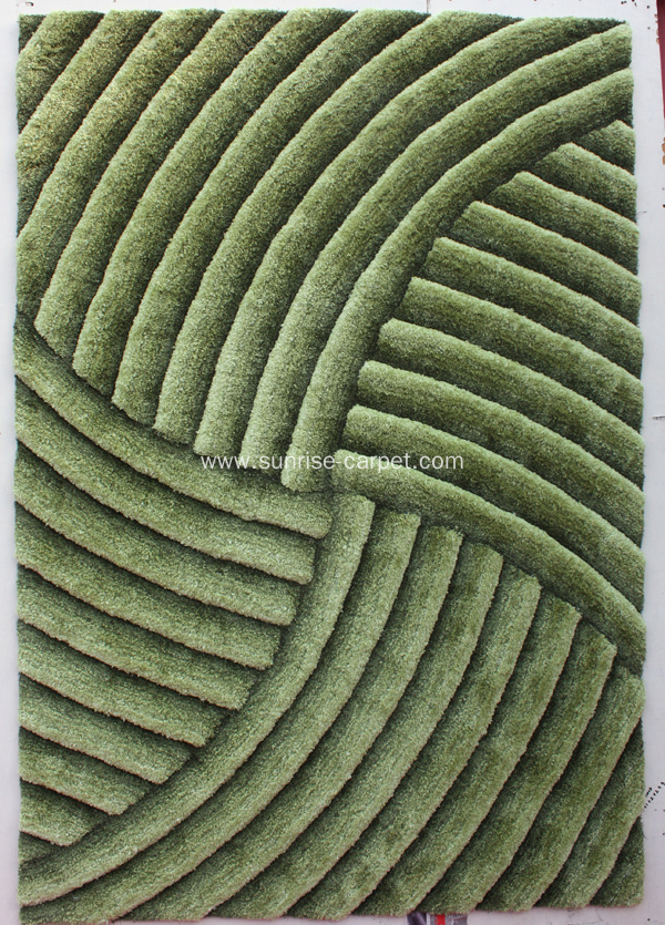 Microfiber Shaggy Rug with 3D Design