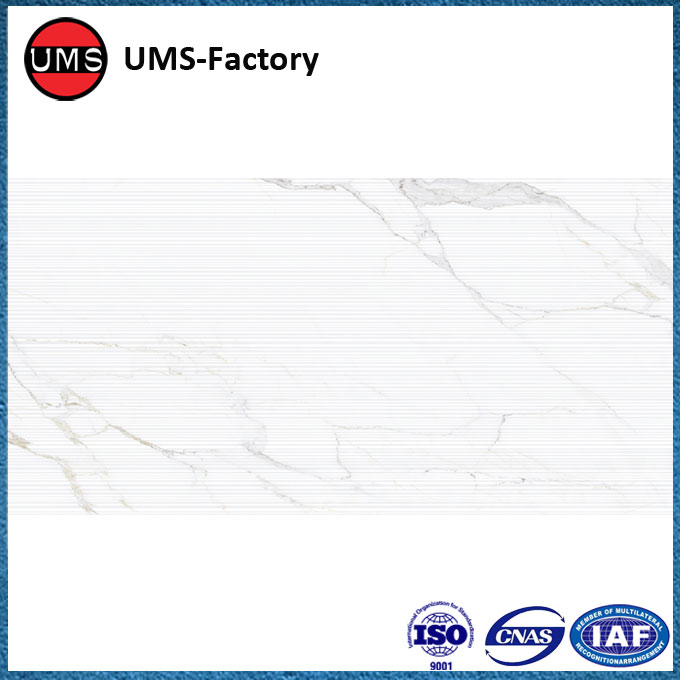 Carrara white marble look ceramic tile wall