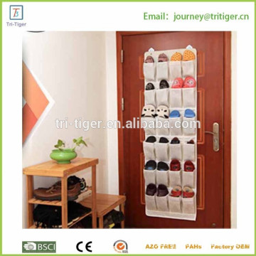 24 Pocket Fiber Cloth Soft Over-the-Door Shoe Storage and Organizer NEW, for Brown With White Stripe Design