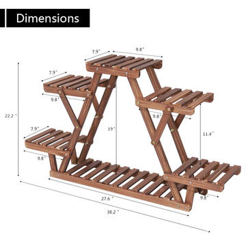Wood Plant Stand Triangular Plant Shelf Multi Tier Flower Display Holder Storage Rack 6 Pots For Indoor Outdoor Living Room