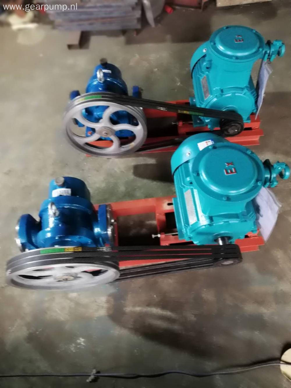 Belt and pulley driven thick oil lobed rotor pump