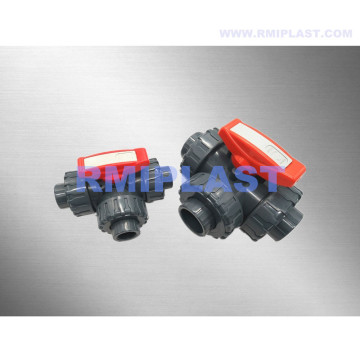 PVC Three Way Ball Valve L/T Port