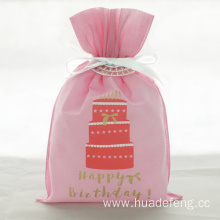 Red Cake Drawstring Birthday Gift Pouch