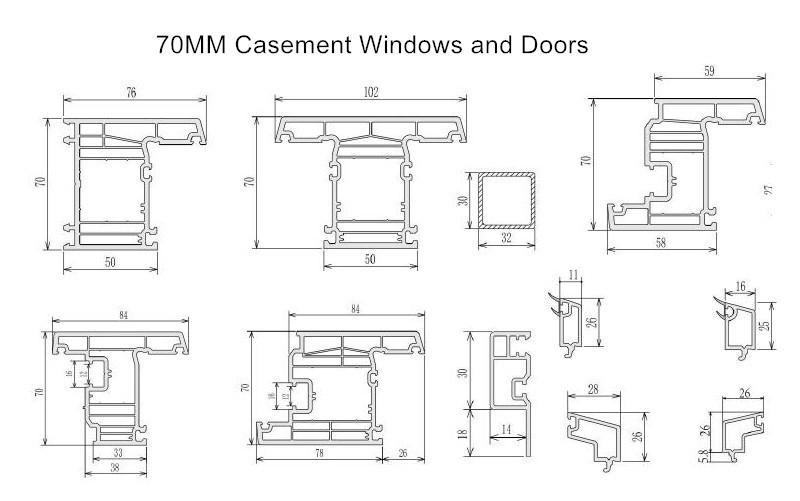 pvc profiles 70mm casement