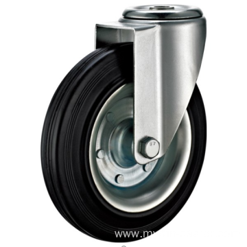 100  mm Hole Top European  industrial rubber  casters without brakes