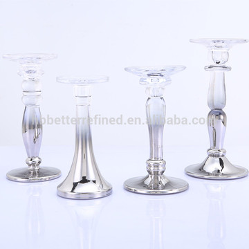 Metallic Ombra Tall Pillar And Taper Glass Candlestick Holder