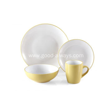 16 Piece Stoneware Two Tone Color Dinner Set  Yellow