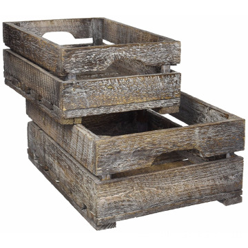 Set of 2 Country Rustic Finish Wood Storage Crate Decorative Tray Carrier Boxes w Handles