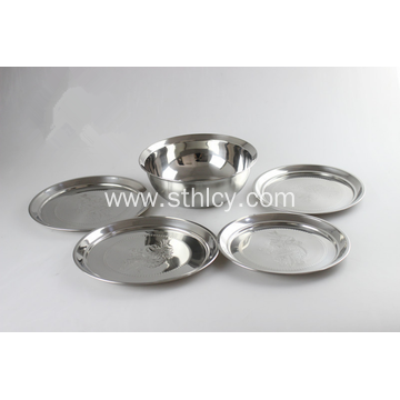 Stainless Steel Soup Basin Plate Five Piece Set