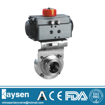 DIN Hygienic Clamp Butterfly Valves Pneumatic Actuator