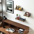 Iron and Wood Storage Display Book Decorative Wall Shelf Iron and Wood Storage Display Book Shelf Set of 3
