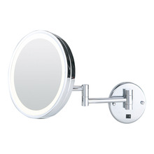 Fogless extending wall mirror with light