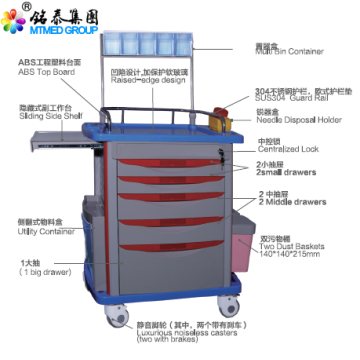 Anesthetic vehicles cart with drawer