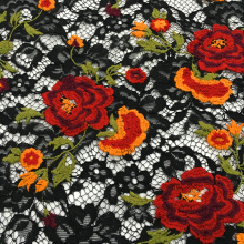 Multicolor Milky Yarn Flower Embroidery On Lace Fabric