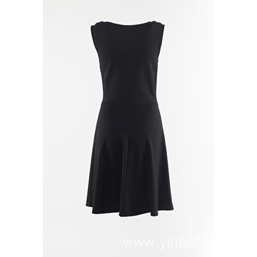Black sleeveless skirt with eyelet at front
