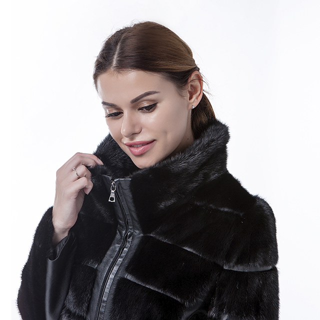 Black fur cashmere overcoat