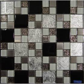 Silver Foil Crystal Glass Mosaic