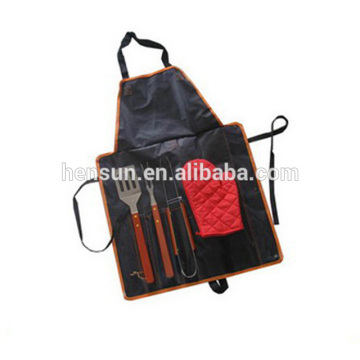 BBQ Accessories 4-Piece Grill Set with Apron Bag
