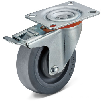 TPR Flat Bottom Movable Integrated Double Brake Casters