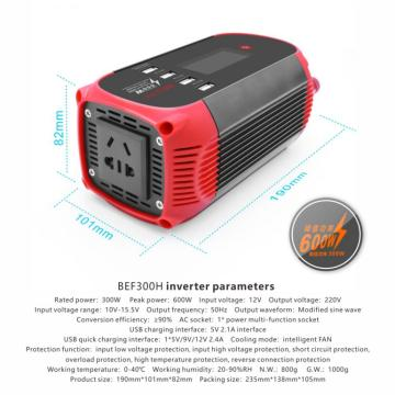 300W Inverter Digital LED instantly provides information