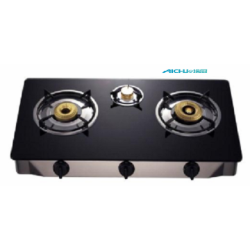 3 Burners Black Glass Top Cooker