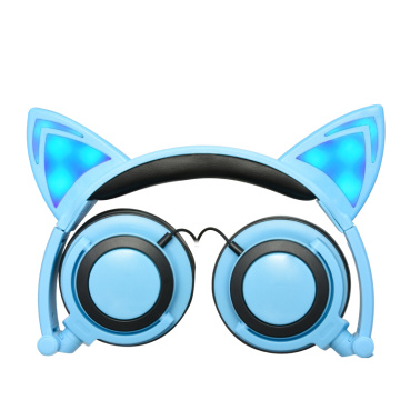 Wired Stereo Cat Ear Headphone LED for Promotion