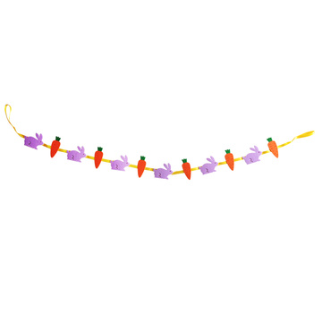 Colourful bunny bunting flags with carrot pattern