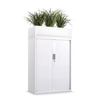 Tambour door cupboard with planter box