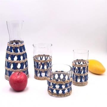 Wickerwork popular drinking glass set