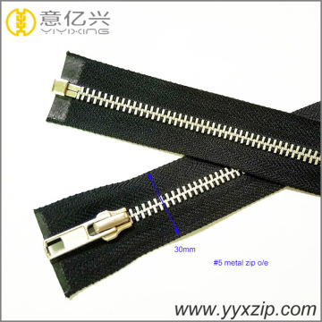 Highly polished smooth teeth gunmetal metal zipper