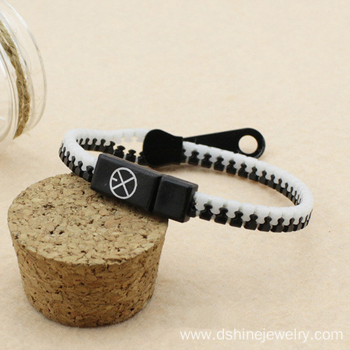 Double Colors Plastic Zipper Bracelet Bangles Printed LOGO