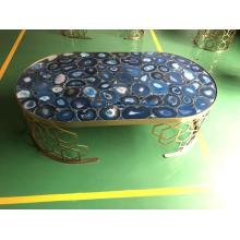semiprecious stone blue agate side table