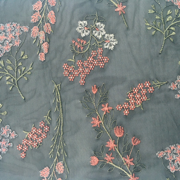 Spring Multicolor Flower Embroidery On Mesh Fabric