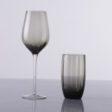Unique Grey Colored Ribbed Wine Glasses