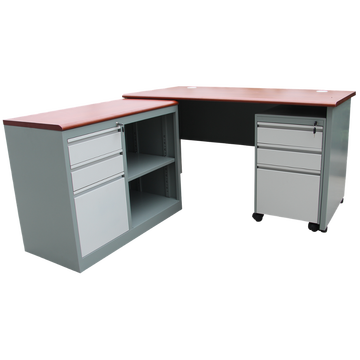 Metal Steel Office L Shaped Desk