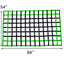 "54"" x 88"" Polyester Green Webbing Truck Bed Cargo Safety Net Heavy Duty For Pickup Trucks with Cam Buckles & Carabiner Hooks"