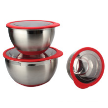 China for Mixing Bowl Set,Mixing Bowl ,Stainless Steel Mixing Bowls Manufacturers and Suppliers in China Stainless Steel deep Bowl Set With Plastic Lids supply to France Exporter