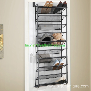 10 tier over door shoe rack with nylon mesh