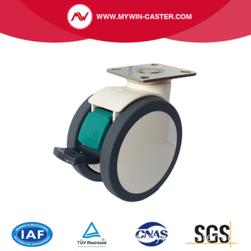 Plate Swivel Steel Structure TPU Medical Caster