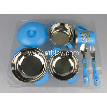 Children's Anti Scald Cartoon Set Stainless Steel Bowl