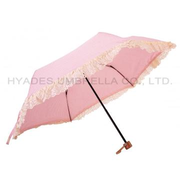 Heat Cut Cute Ruffle Lace 3 Folding Umbrella