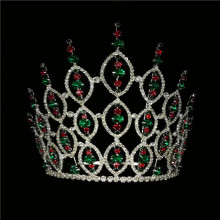 8''Red Green Rhinestone Bridal Round Crown