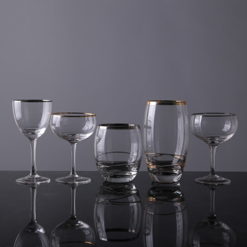 Gold Rim Drinking Stemless Wine Glasses