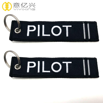 Custom embroidered key tags pilot keychain