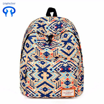Printed bright color backpack with two shoulders