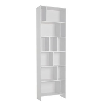 Contemporay white shelf wooden storage rack